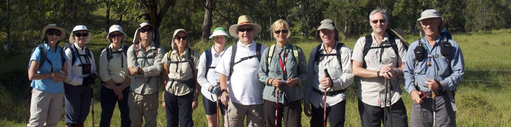 bushwalking club members enjoy safety walking in a group