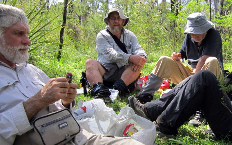 Bushwalking club members safely enjoy the social aspects of a bushwalk